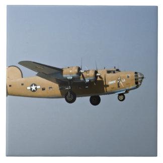 Diamond Lil B-24 Bomber, landing at Oshkosh, Large Square Tile
