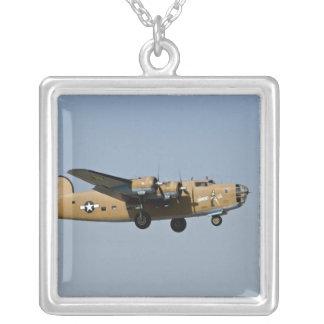 Diamond Lil B-24 Bomber, landing at Oshkosh, Square Pendant Necklace
