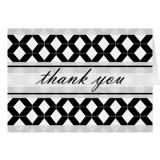 Diamond Lines Thank You Damask Black and White Card