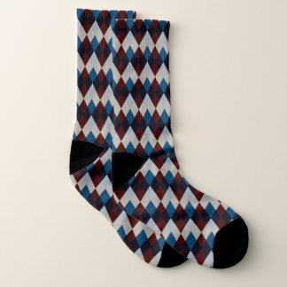 Diamond Maroon Blue Printed Socks