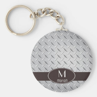 Diamond Metal Plate Key Ring