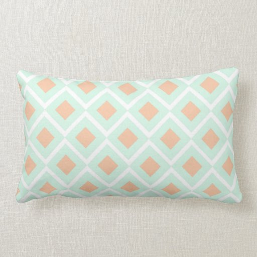 Diamond Mint Green Rectangle Throw Pillow