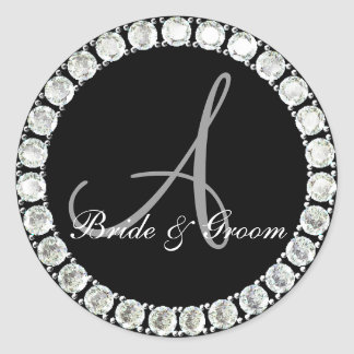 Diamond monogram A customizable seal Classic Round Sticker
