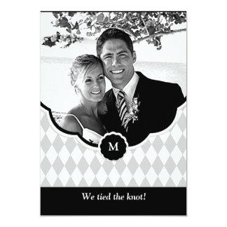 Diamond Monogram Photo Wedding Announcement