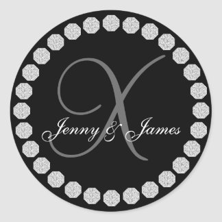 Diamond Monogram X Names Wedding Favor Labels Round Sticker