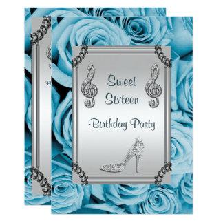Diamond Music Note, Stiletto & Blue Roses Sweet 16 13 Cm X 18 Cm Invitation Card