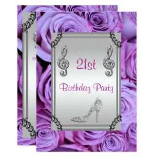 Diamond Music Note, Stiletto & Lilac Roses 21st 13 Cm X 18 Cm Invitation Card