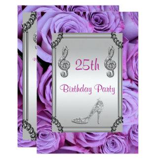 Diamond Music Note, Stiletto & Lilac Roses 25th 13 Cm X 18 Cm Invitation Card