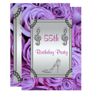 Diamond Music Note, Stiletto & Lilac Roses 55th 13 Cm X 18 Cm Invitation Card