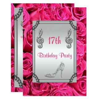 Diamond Music Note, Stiletto & Pink Roses 17th 13 Cm X 18 Cm Invitation Card