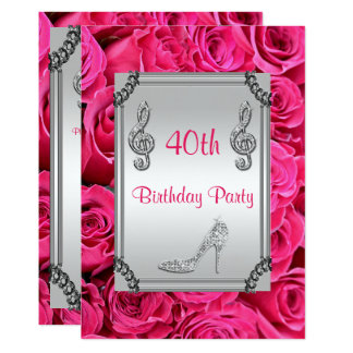 Diamond Music Note, Stiletto & Pink Roses 40th 13 Cm X 18 Cm Invitation Card