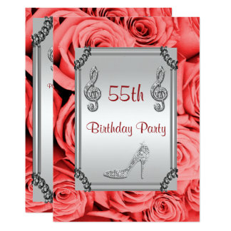 Diamond Music Note, Stiletto & Red Roses 55th 13 Cm X 18 Cm Invitation Card
