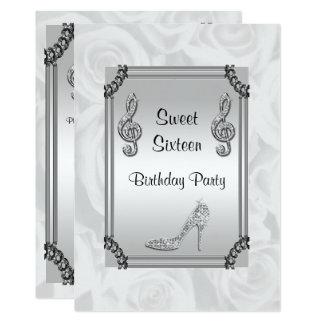 Diamond Music Note, Stiletto & Roses Sweet 16 13 Cm X 18 Cm Invitation Card