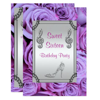 Diamond Music Note, Stiletto & Roses Sweet 16 Card