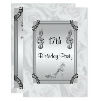 Diamond Music Note, Stiletto & White Roses 17th 13 Cm X 18 Cm Invitation Card