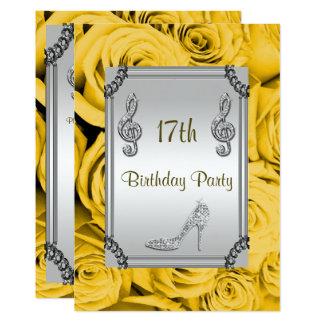 Diamond Music Note, Stiletto & Yellow Roses 17th 13 Cm X 18 Cm Invitation Card