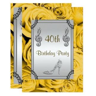 Diamond Music Note, Stiletto & Yellow Roses 40th 13 Cm X 18 Cm Invitation Card