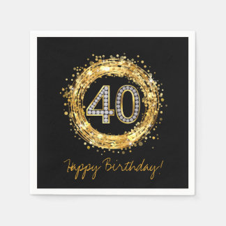 Diamond Number 40 Glitter Bling Confetti | gold Paper Napkins