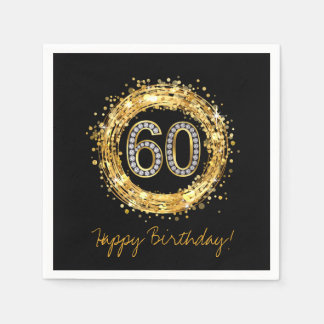 Diamond Number 60 Glitter Bling Confetti | gold Disposable Napkin