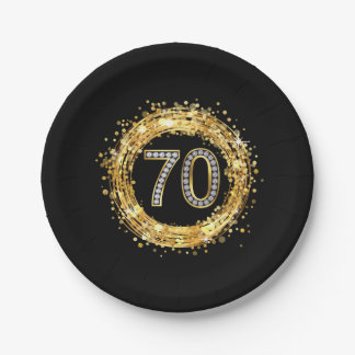 Diamond Number 70 Glitter Bling Confetti | gold 7 Inch Paper Plate