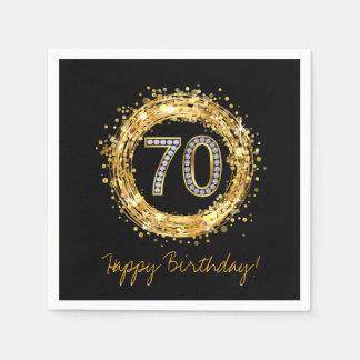 Diamond Number 70 Glitter Bling Confetti | gold Disposable Napkins