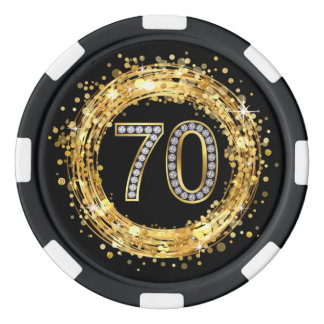 Diamond Number 70 Glitter Bling Confetti | gold Poker Chips