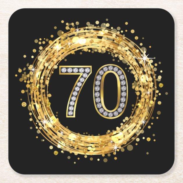 Diamond Number 70 Glitter Bling Confetti Gold Square
