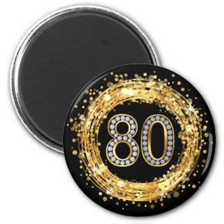 Diamond Number 80 Glitter Bling Confetti | gold 6 Cm Round Magnet