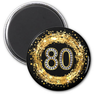 Diamond Number 80 Glitter Bling Confetti | gold Magnet