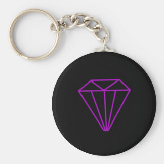 Diamond outline basic round button key ring