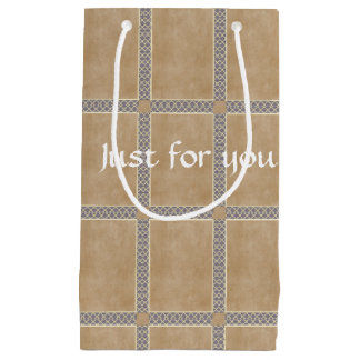 Diamond pattern and vintage paper small gift bag