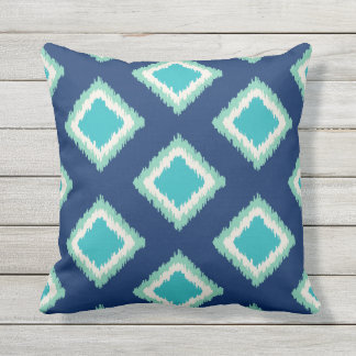 Diamond Pattern | Green and Blue Outdoor Cushion