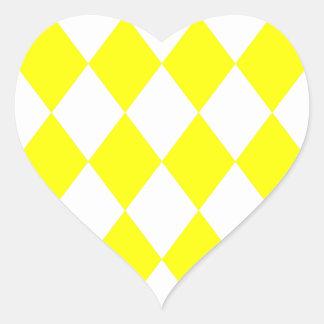 DIAMOND PATTERN in Bright Yellow ~ Heart Sticker