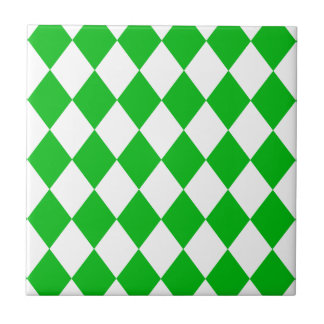 DIAMOND PATTERN in GREEN GREEN ~ Small Square Tile