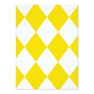 DIAMOND PATTERN in Yellow (banana yellow) ~ 14 Cm X 19 Cm Invitation Card