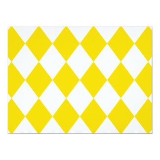 DIAMOND PATTERN in Yellow (banana yellow) ~ 17 Cm X 22 Cm Invitation Card