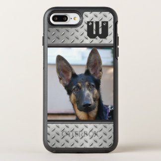 Diamond Pattern Metal, Monogrammed with Photo OtterBox Symmetry iPhone 8 Plus/7 Plus Case