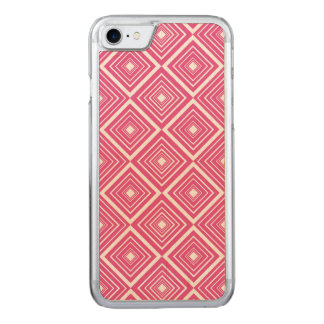 Diamond Pattern Pink and White Carved iPhone 8/7 Case