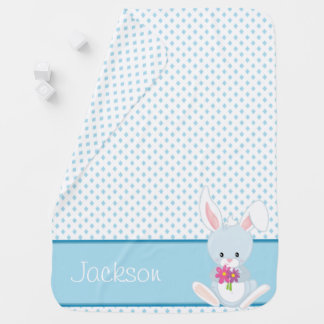 Diamond Pattern with Rabbit | Personalized Baby Blanket