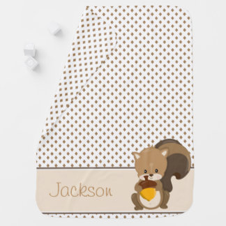 Diamond Pattern with Squirrel | Personalized Baby Blanket
