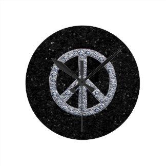 Diamond Peace Sign Wall Clocks