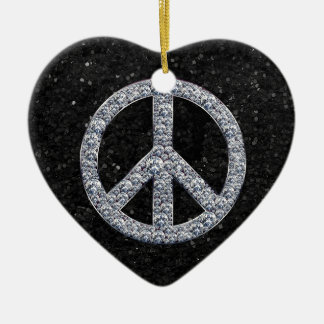 Diamond Peace Sign Christmas Ornaments