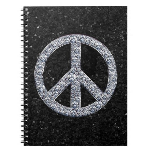 Diamond Peace Sign Note Books