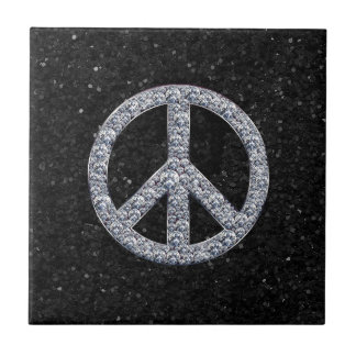 Diamond Peace Sign Small Square Tile