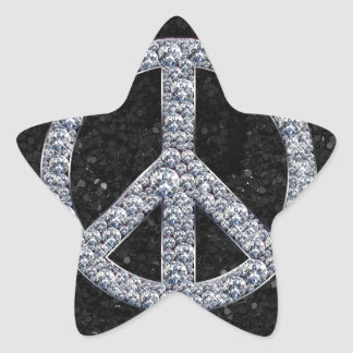 Diamond Peace Sign Star Sticker