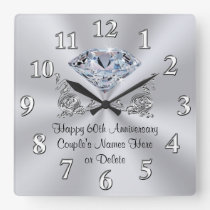 Diamond Personalised 60th Anniversary Gifts CLOCK