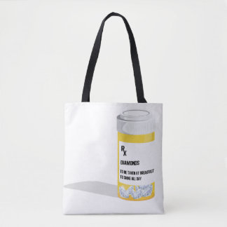 Diamond Pill Bottle Tote Bag