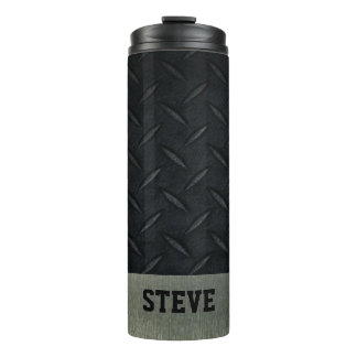 Diamond Plate and Silver Personalized Tough Thermal Tumbler