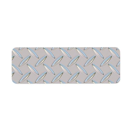 Diamond Plate Metallic Return Address Label