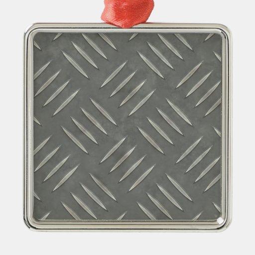 Diamond Plate Stainless Steel Textured Christmas Ornament